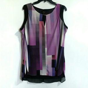 Worthington layered tunic top purple sz XL